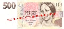 500 CZK - Božena Němcová (1820-1862) She is considered to be the most prominent Bohemian writer. She is the author of small prose works with patriotic and social themes., photo by: Česká národní banka