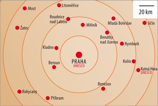 Prague on the map, Central Bohemia, source: Vydavatelství MCU s.r.o.