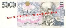 5 000 CZK - Tomáš Garrigue Masaryk (1850-1937) The founder and first president of independent Czechoslovakia (from 1918). Philosopher, statesman, and sociologist., photo by: Česká národní banka