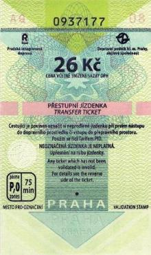The ticket is valid on all types of public transport in Prague - travellers are required to frank their tickets immediately on entering the vehicle. 26 CZK tickets are for transfer journeys.