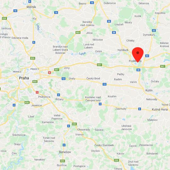 Poděbrady, zdroj: Mapy Google